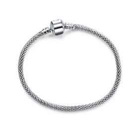Wholesale Heart 925 Bracelet Chain Hollow - Fashion 10pcs 925 Silver Plated Heart Clasp Bracelets 3mm Hollow Snake Chain Fit Pandora Charm Bead Bangle Bracelet Jewelry Gift For Women