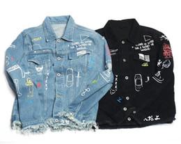 Wholesale Hung Jacket - men jacket The new wave of brand street Graffiti couple denim jacket high street loose hanging men and women models denim coat kanye west