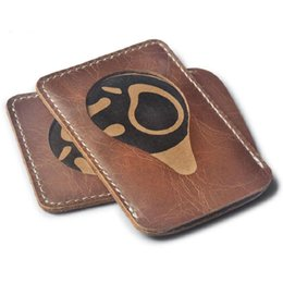 Wholesale Used Vintage - Men Women Cowwide Leather Card Holder Credit Card Entrance Card Use Black Brown Color Nice Gift A339