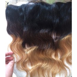Wholesale Gold Hair Tone - ear to ear Brazilian human hair ombre lace frontal closure 13x4 body wave straight loose deep 1B 4 27 three tone black brown gold color hair