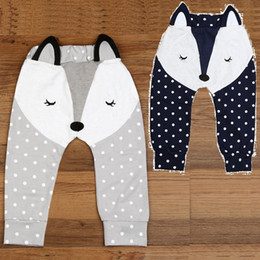 Wholesale Tight Cotton Panties - Fox Baby Boy Pants Grey Navy Baby PP Pant Underpants Leg Warmers Baby Girls Tights 100% Cotton Newborn Trousers Soft Dot Panties