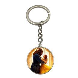 Wholesale Custom Photo Keychains - Beauty and beast metal keychain custom 2017 new key button explosion
