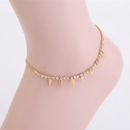 Wholesale Rivets Tassel Bracelets - Punk Ankle Bracelets Gold Tone Rivets Tassel Rhinestone Embellished Anklet Chain Foot Chains Barefoot Beach Sandals Gothic Girls Anklets