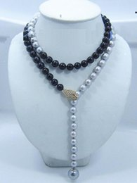 """Wholesale Real Black Sea Pearl Necklace - Details about 35"""" Adjustable AAA 10-11MM real south sea Multicolor black gray pearl necklace"""