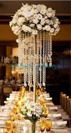Wholesale Decor Bead Strands - Gold wedding centerpiece acrylic bead strands ,60cm tall acrylic crystal flower stand for wedding table decor.