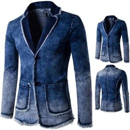 Wholesale Casual Denim Suits For Men - Mens Blue Printed Blazer Pattern Slim Fitted Prom Denim Blazers For Men Casual Two Buttons Suit Jacket Stage Costumes For Singers Free Shipp