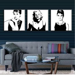 Wholesale Marilyn Monroe Posters - 3 Pcs Vintage Poster Portrait Oil Painting Canvas Wall Art Picture Marilyn Monroe And Audrey Hepburn Canvas Prints Pictures