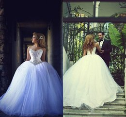 Wholesale Lace Sash Online - Luxury Online Ball Gown Formal Wedding Dresses with Rhinestones Beaded Sweetheart Off the Shoulder Wedding Gowns Lace up Back