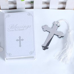 Wholesale bookmark cross - Cross Bookmark With Tassel Creative Design Delicate Box Packing Metal Silver Birthday Gift Wedding Decor Party Favor 2 1tz F R