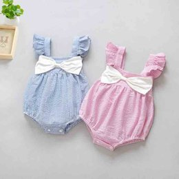 Wholesale One Piece Shorts Clothing - Baby Bow Romper Cotton 2017 Summer Tank Striped One-piece Jumpsuits Kids Ruffled Sleeve Clothing Blue And Pink PX-T19