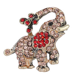Wholesale Elephant Pins - Wholesale- Trendy small elephant Brooch pin crystal Rhinestone brooches animal Brooches for women fashion brooch decoration jewelry