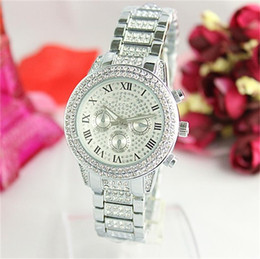 Wholesale Diamond Crystal Dress - Luxury Crystal quartz Watches New Steel Watches For Mens Women Casual Gold Watch Diamond Wristwatch Ladies Dress Watches Free shipping