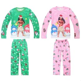Wholesale Cotton Pjs Wholesale - Kids Pjs Clothing Sets 2017 Fall   Autumn Cotton Long sleeve Clothes Pants Cartoon Moana Baby Boys Girls Children Christmas Xmas Pajamas