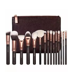 Wholesale Browning Wood - 15 pc ZOV Luxurious Makeup Brushes Set with Bag Powder Foundation Brush face eye cosmetics brushes kit