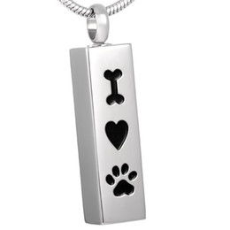 Wholesale Gifts For Engraving - IJD8001 PET CREMATION JEWELRY Wholesale,Engraving I Love Paw Keepsake Cremation Urn Pendant Hold Ashes Memorial Necklace for Pet Lovers
