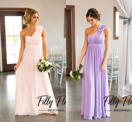 Wholesale Royal Blue Wedding Dress S - Western Summer Bridesmaid Dresses One Shoulder Long Chiffon Bridesmaid Gowns Lavender Flower Wedding Guest Dresses 2017 New Arrival