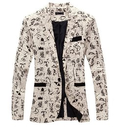 Wholesale Wholesale Fitted Suits - Wholesale- 9 color M-XXL men blazer slim fit 2014 suit men Cotton and linen flower cloth color matching leisure jacket men suit