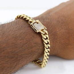 Wholesale 18k Gold Plated Ring Mens - 10mm Mens Cuban Miami Link Bracelet Rhinestone Clasp Iced Out Gold Silver Stainless Steel Chain Bracelet 21CM