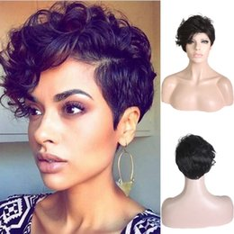 Wholesale Capless Wigs - Women Synthetic Wig Capless Short Curly Natural Wave Black Side Part For Black Women Party Hairstyle Celebrity Cosplay Wig Heat Resistant