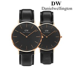 Wholesale Couples Watches - Daniel Wellington New Dw watches women mens black fashion Couple watch leather Sweden Brand men quartz watch movements Luxury montre femme