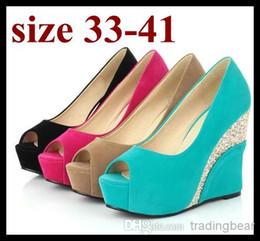 Wholesale Micro Hot Dresses - candy color wedding shoes peep toe platform wedge heels hot pink blue comfortable heels plus size women shoes size 40 41 to small size 33