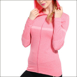 Wholesale Women Winter Sports Sweaters - Gold Hands Autumn Winter Women's Thin Sport Clothing With Hoodies Sweatshirt Slim long-sleeve Yoga Luminous Running Sweater Free Shipping