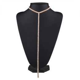 Wholesale Rhinestone Gun Necklace - Gold Plated Rhinestone Choker Necklace Gun Black Fashion Bohemian Vintage Square Maxi Geometric Long Silver Color Crystal Necklaces Women