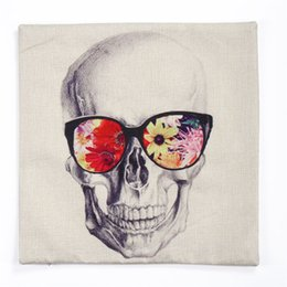 Wholesale Antique Pillows - Wholesale- Pillow Case 1PC Retro antique material pillow cover case Skull Wear Flower Glasses waist cushion pillowslip 45cm case on sale