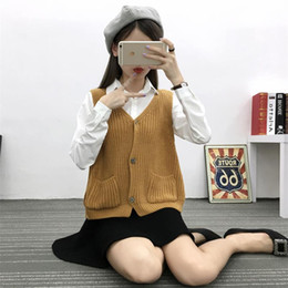 Wholesale Knitted Sweater Vest Korean - Wholesale- Winter and spring knit vest female retro school Korean fashion v-neck short cardiganoutwear sleeveless sweater with pockets