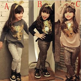 Wholesale Kids Clothing Sale Free Shipping - 2017 Spring Autumn New Fashion Girls Clothes Set Hot Sale Kids Brand Tracksuits Leopard Suit T-shirt+Pants 2Pcs Sets Free Shipping Q0663