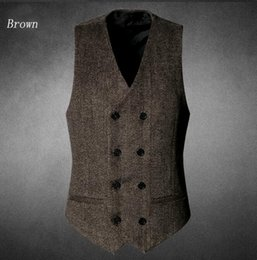 Wholesale Warm Wool Vest - 2017 Fall Warm Men Vest For Casual Groom Wear Gray Brown Color Thick Double Breasted High Quality V08