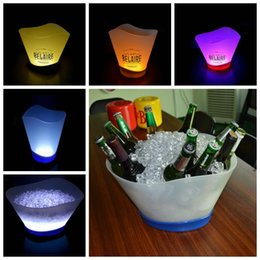 Wholesale Led Lights For Tubs - LED Light Acrylic Champagne Wine Beer Ice Bucket 4L Tub For Bar Club Party Plastic Ice Buckets Hotel Champagne Ice Bucket CCA6808 10pcs