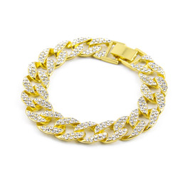 Wholesale Mens High Bar - Hip Hop Iced Out Rhinestone Bracelets bangle mens Gold Filled Miami cuban link 8 inch Chains For man high quality Fashion Jewelry Gift