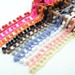 Wholesale Wholesale Fabric Sewing Material - 5 meter 1cm Lace Ribbon Fabric Sewing Accessories Pompom Cotton Pom Pom Decoration Tassel Ball Fringe Trim DIY Material Apparel