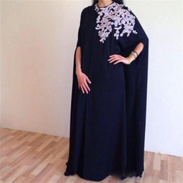 Wholesale Chiffon Floor Length Cape - Dubai Arabic Long Evening Dresses With Cape Jewel Dark Nave Blue Long Sleeves Prom Dress Floor Length Vesditos De Festa Cocktail Gowns