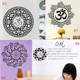 Wholesale Self Adhesive Flower Large - K5-9 Personalized Mandala Wall Sticker Flowers Sticker Forals Murals Vinyl Yoga Mandala Wall Decal for Couple Religious Home Decoration