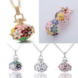 Wholesale brass chimes - Angel Locket Flower Angel Ball Necklace 5 Styles Brass Metal Pendants Baby Chime Necklace with Stainless Steel Chain 3PCS Refill Ball B381Q