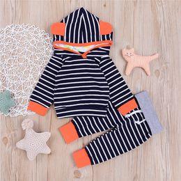 Wholesale Cartoon Hoodies Girls - Mikrdoo 2017 Autumn Winter Kids Clothes Suits Baby Cartoon Long Sleeve Striped Hoodies Pants Set 2PCS Cotton Boy Girls Tracksuit Wholesale