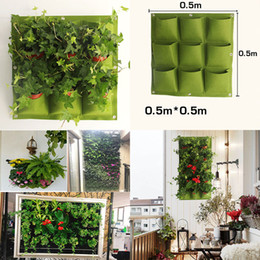 Wholesale New Flower Pots - New Indoor Outdoor Wall Hanging Garden Planter Vertical Felt Plant Pots Grow Flower Bags 9 Pockets planters home 0.5M*0.5M WX-P04