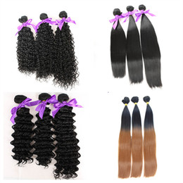 Wholesale Weave Extension Synthetic - high quality hair weave silky straight deep wave curly Fiber natural color 1B High Temperature Synthetic Hair weft Hair Extension
