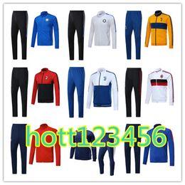 Wholesale Men Italian Pants - Hot sale Italian national team JACKET KIT 2017 2018 JUV INTER jacket WITH PANTS BONUCCI DYBALA 17 18 AC milan Zipper jacket SweatWEAR set