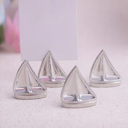 Wholesale Sail Boat Place Cards - 100pcs lot Wedding decoration metal Shining Silver Sailing Boat Place Card Holder Picture holder Free shipping