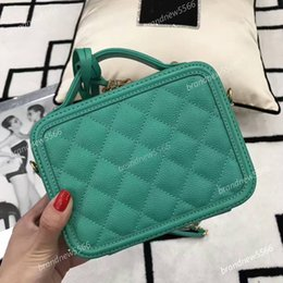 Wholesale Caviar Flap - 2017 green cosmetic box bag original caviar leather tote cosmetic bags top quality women's genuine leather chain shoulder bag 21cm 8 colors
