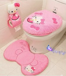 Wholesale Free Shipping Bathroom Sets - New Hello Kitty Bathroom Set Toilet Set Cover WC Seat Cover Bath Mat Holder Closestool lid Cover 4pcs set Free Shipping