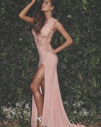 Wholesale Peach Mermaid Prom Dresses - 2017 New Elegant Peach Mermaid Prom Dresses Sheer Neck Sleeves Lace Sequins Top Thigh High Split Evening Dresses Special Occasion Gowns