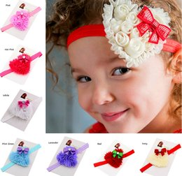 Wholesale Hairbow Flowers - 8Colors INS Shabby Girls Valentines Chiffon Heart Flowers Glitter Headband Newborn Baby Hairbow Photo Prop Valentines Day Hair Accessories
