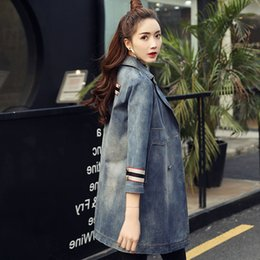 Wholesale Trench Coat Feminino - New Fashion 2017 Spring Summer Women's Streetwear Long Denim Trench Coat Double Breasted Blue Hole Outerwear Casaco Feminino