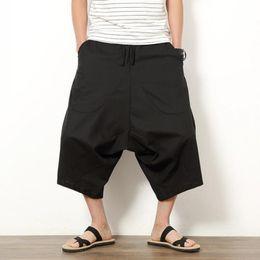 Wholesale Loose Fitted Harem Pants - Wholesale- Summer Men's Japanese Samurai Boho Summer Harem Shorts Hakama Linen Cotton Pants 5 Colors Loose Fit Short Pants Big Size