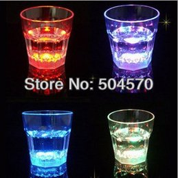 Wholesale Bamboo Drinking Glasses - Wholesale-24pcs lot 3XLEDs Night Festival Party Pub Bar Ball LED Wine Drinking Glass Cups LED Plastic Glowing Tableware Dinnerware