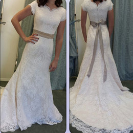 Wholesale Wedding Dress Removable Short Sleeve - Modest Mermaid Wedding Dresses with Short Sleeves Full Lace Country Style Bridal Gowns Buttons Back Sweep Train Removable Sash Custom Made